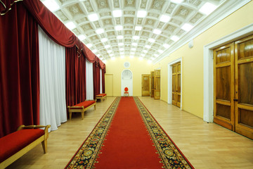 Hall with red carpet in palace