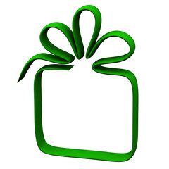 Green gift box frame, 3d