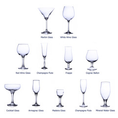 collection of empty glasses with designation isolated