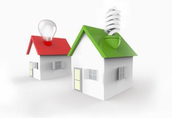 Casas con bombillas diferentes