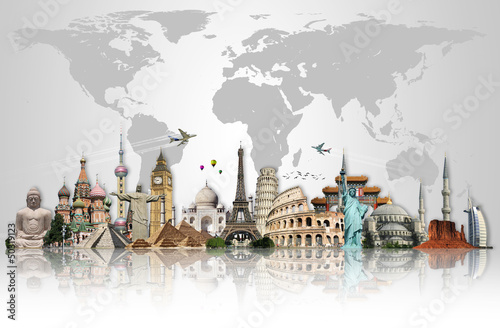 Wall mural Travel the world monuments concept