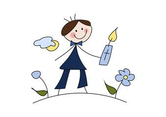 Cartoon-Zeichnung: Junge feiert Erstkommunion