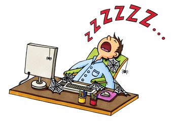 Cartoon: Mann ist vor PC eingeschlafen