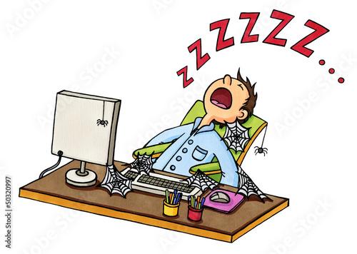 Schreibtisch büro comic  Cartoon: Mann ist vor PC eingeschlafen