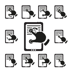 Set of multitouch gestures. Vector illustration