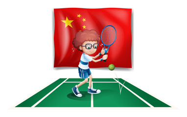 A tennis player in front of the flag of China