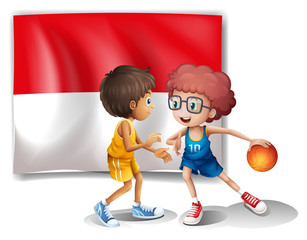 The flag of Indonesia at the back of the basketball players
