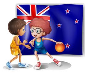 The flag of New Zealand in front of the basketball players