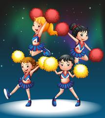 Four energetic cheerers