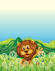 Zelfklevend Fotobehang Vlinders A lion waving his hand near the weeds