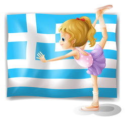 The flag of Greece with a ballet dancer