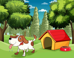 A dog with a doghouse and a dogfood near the trees