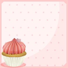 A blank stationery with a cupcake
