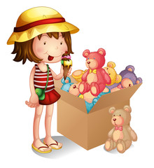 Acrylic Prints Bears A young girl beside a box of toys