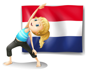 A girl in front of the flag of Netherlands