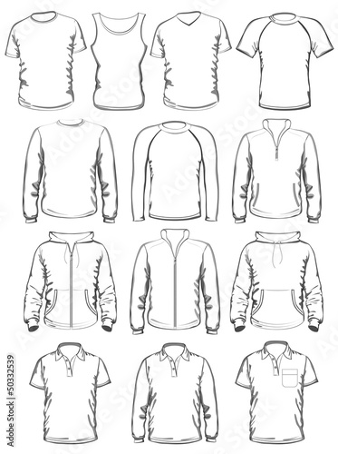 Collection of men clothes outline templates\