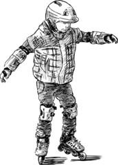kid on roller skates