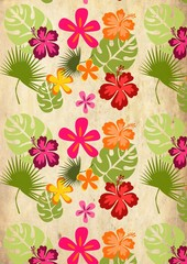 Seamless background with tropical plants