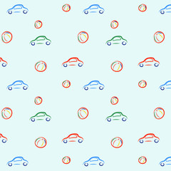 vector illustration pattern with cars and balls