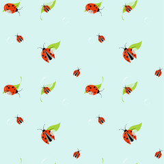 vector illustration pattern with ladybugs; blue background
