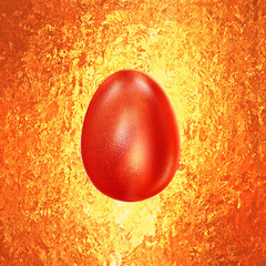 Red Easter Egg glitters in  vintage background