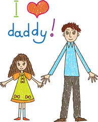 Kid's drawing. Father's day.