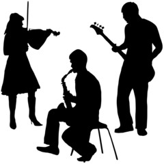 Musicians, violin, guitar, saxophone