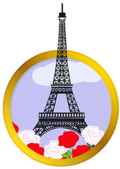Eiffel tower in round frame