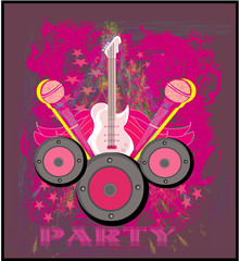 Microphone, guitar and wing motif in pink. Abstract party design