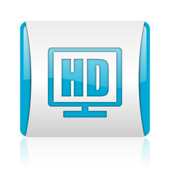 hd display blue and white square web glossy icon