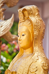 face of guan-yin statue in thailand
