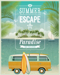 Wall Mural - Vintage seaside view poster with surfing van. Vector background.