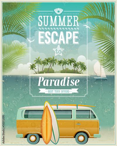 Vintage seaside view poster with surfing van vector for Garage volkswagen flers
