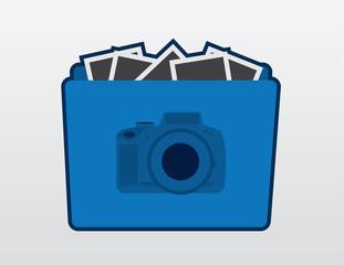 Blue camera folder icon with photos