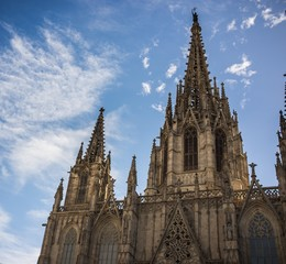 Cathedral of the Holy Cross and Saint Eulalia against blue sky