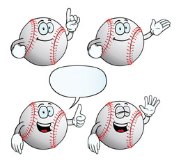Collection of smiling baseballs with various gestures.