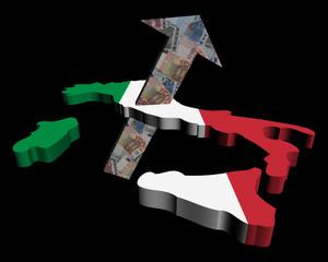 European Euros arrow and Italy map flag illustration