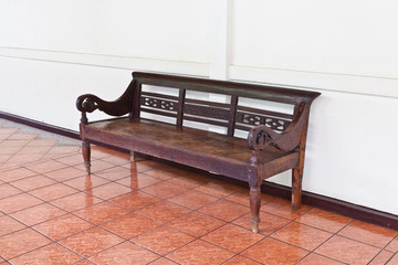 Vintage Bench Against blank Wall