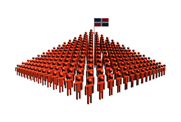 Pyramid of people with Dominican Republic flag illustration