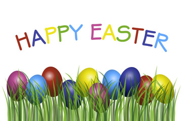 Happy Easter with eggs in grass illustration