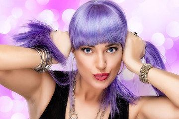 Lovely Joyful Girl. Stylish Purple Hair