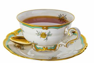 Tea in an antique tea cup.