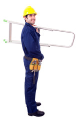 Full lenght of a young worker holding a ladder, isolated on whit