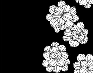 Printed kitchen splashbacks Floral black and white 和柄パターン