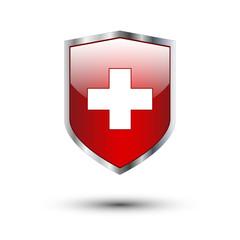 Red cross on silver shield