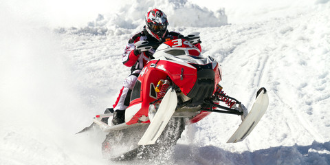 Fototapete - red snowmobile