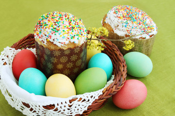 colored eggs and cake