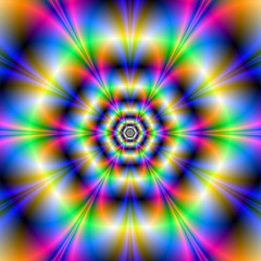 Poster Psychedelic Neon Hexagons