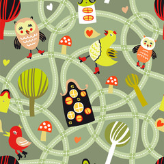 Foto auf Leinwand Auf der Straße Cute seamless pattern with road, houses and birds