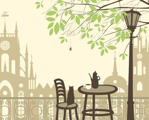 Poster de jardin Drawn Street cafe outdoor cafe in the old town with cat spider
